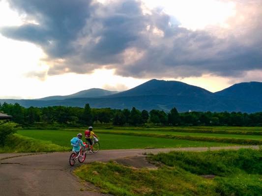 小学生と田んぼの風景